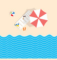 beach stuff with deckchair and umbrella vector image vector image