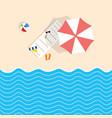 beach stuff with deckchair and umbrella vector image vector image