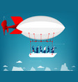 business team flying in the sky on hot air vector image vector image
