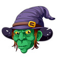 cartoon witch face on white background vector image vector image