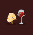 cheese and wine glass cartoon characters vector image