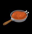 chicken in frying pan fry fowl in frying pan food vector image vector image