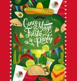 cinco de mayo holiday mexican fiesta calligraphy vector image vector image