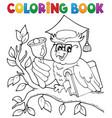 coloring book owl teacher theme 1 vector image vector image
