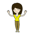comic cartoon woman holding up hands vector image