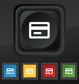 credit card icon symbol Set of five colorful vector image