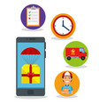 delivery service set icons vector image vector image