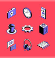 distance working - colorful isometric icons vector image