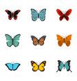 exotic butterflies icons set flat style vector image vector image