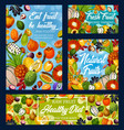 exotic fruits and berries diet food and detox vector image vector image