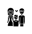 family with child black icon sign on vector image