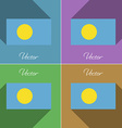 Flags Palau Set of colors flat design and long vector image