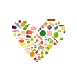 Food icons collection in heart shape vector image