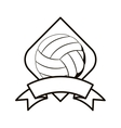 gray scale volleyball tournament emblem with ball vector image vector image