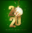 green 2020 happy new year holiday vector image vector image