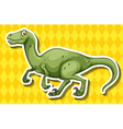 Green dinosaur running on yellow background vector image