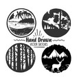 hand drawn logo set trendy collection outdoor vector image vector image