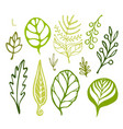 handsketched leaves doodles set green silhouettes vector image vector image