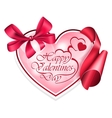 Heart shape frame with ribbon vector image vector image