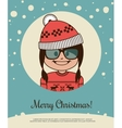 Holiday card with hipster girl in red Canta Claus vector image