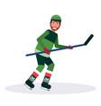 ice hockey player holding stick skating goal vector image