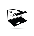 laptop with planet and airplane on it vector image