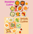 malaysian and british cuisine lunch menu icon set vector image vector image