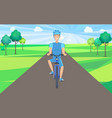man on bicycle front view vector image vector image