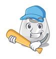 playing baseball plastic bag character cartoon vector image