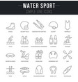 Set line icons water sport