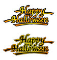 set of two happy halloween logos vector image vector image