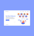 social media marketing landing page more vector image vector image