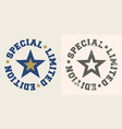 special limited edition stamp with star vector image