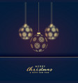 stylish hanging golden christmas balls premium vector image vector image