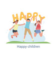 three happy children jumping and cheering vector image vector image