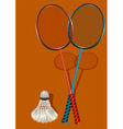 two badminton rackets and shuttlecock vector image vector image