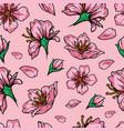 vintage japanese floral seamless pattern vector image