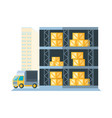 warehouse shelf with delivery boxes and truck vector image