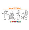 womans profession coloring book set vector image vector image