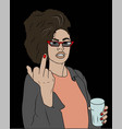 young beautiful woman shows middle finger vector image vector image