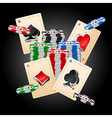 4 Aces and chips on black background vector image