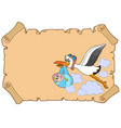 baby congratulation with stork vector image