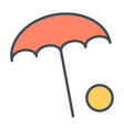 beach umbrella with ball line icon vector image