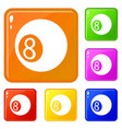 billiard ball icons set color vector image vector image