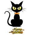 black cat with happy halloween logo vector image