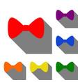 bow tie icon set of red orange yellow green vector image vector image
