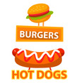 burgers and hot dogs meal signs with dishes vector image