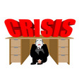businessman scared under table from crisis vector image
