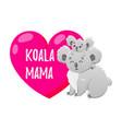 cartoon koala with heart doodle vector image vector image