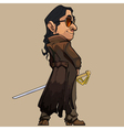 cartoon modern man in a long coat with a sword vector image